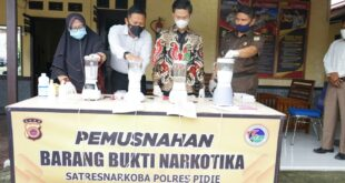 Sat Resnarkoba Polres Pidie Musnahkan Barang Bukti Narkotika Jenis Sabu