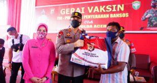 Kapolda Aceh Tiba di Polres Pidie Dalam Rangka Kunjungan Kerja dan Tinjau Gerai Vaksin TNI/POLRI Serta Penyerahan Bansos